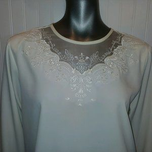 Vintage Yves St. Clair Off White Blouse - 14
